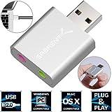 Sabrent USB External Aluminum Stereo Sound Adapter für Windows und Mac. Plug and play. Inkl. USB Kabel. keine Treiber erforderlich. (Silber) [C-Media CM108 Chipset] (AU-EMAC)