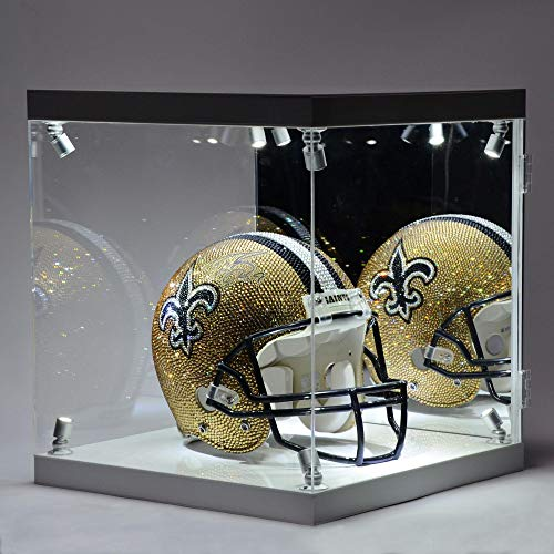 Drew Brees New Orleans Saints Autographed Swarovski Crystallized Riddell Pro-Line Authentic Helmet with LED Display Case on a Rotating Base - Fanatics Authentic Certified