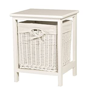 White Small Bathroom Storage Wicker Basket Table Laundry Bin Kitchen Home
