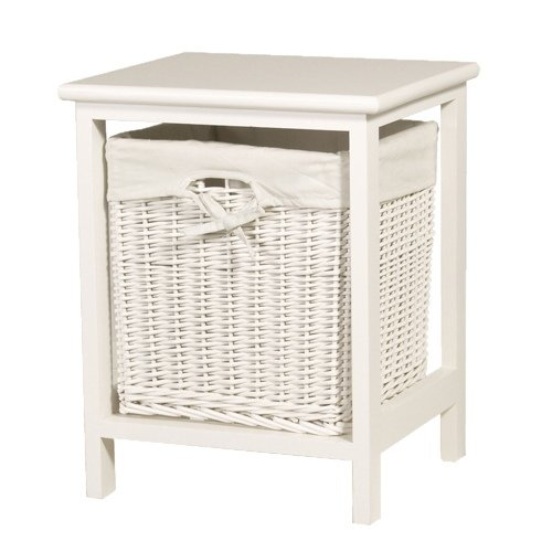 High Quality White Small Bathroom Storage Wicker Basket Table Laundry Bin