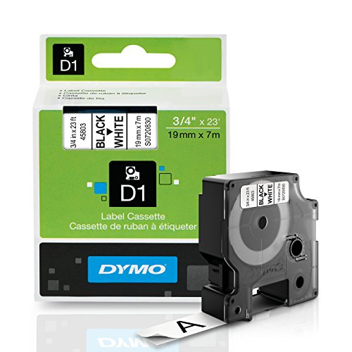 DYMO Standard D1 Labeling Tape for LabelManager Label Makers, Black print on White tape, 3/4'' W x 23' L, 1 cartridge (45803)