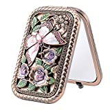 Nerien Women's Magnifying Vintage Foldable Metal Princess Style Butterfly Rose Flowers Purse Mirror Portable Travel Mirror Copper