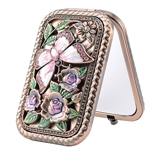 Butterfly Princess Mirror (Nerien Women's Magnifying Vintage Foldable Metal Princess Style Butterfly Rose Flowers Purse Mirror Portable Travel Mirror Copper)