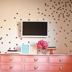 Set of 60 Polka Dot Wall Stickers Decal Childs Kids Vinyl Art Decor Spots (Gold)