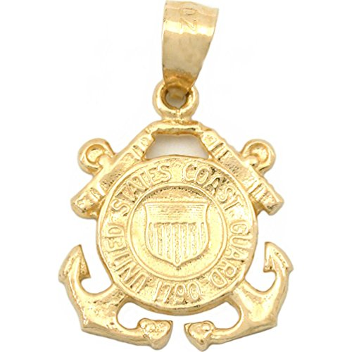 (US Coast Guard Emblem Charm 14K Gold 16mm)