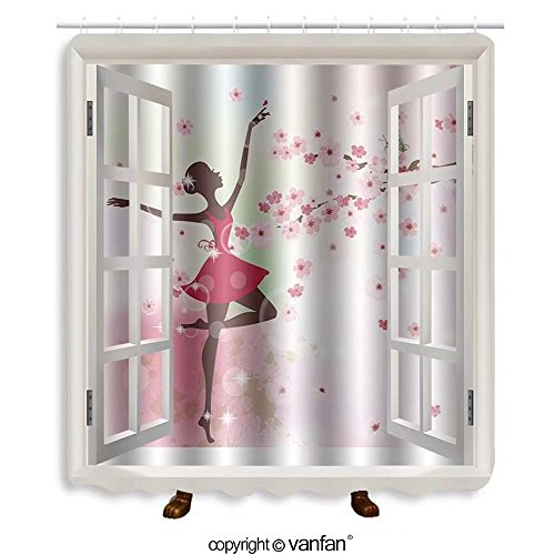 Vanfan designed Windows 132852674 Beautiful ballerina in the flowers Shower Curtains,Waterproof Mildew-Resistant Fabric Shower Curtain For Bathroom Decoration Decor With Shower - Outlets Me Now Premium Near