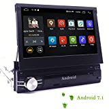 YODY Android 7.1 Single Din Car Stereo Navigation 7 Inch Capacitive Touch Screen Support Bluetooth WiFi GPS Mirror Link USB/SD/AM/FM Car Radio with Backup Camera and Microphone