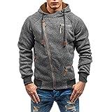 Hometom Mens Slim Fit Long Sleeve Zip-up Soft Pullover Hoodie Sweatshirt with Multi-Pocket (Dark Gray, L)
