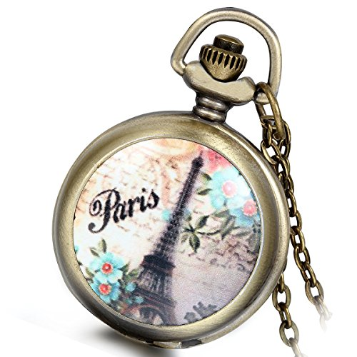 Lancardo Vintage Eiffel Tower Pendant Pocket Watch Locket Necklace for Women Ladies Girls with Gift Bag