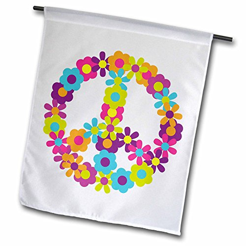 Anne Marie Baugh Sixties Retro - Peace Sign Made Up Of Blue, Pink, Purple, and Green Flowers - 12 x 18 inch Garden Flag (fl_124615_1) (Blue Peace Sign Garden Flag)
