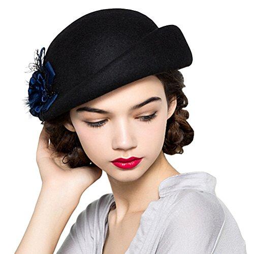 Maitose Women's Lace Flower Wool Beret Cap Black (Wool Hat Lace)