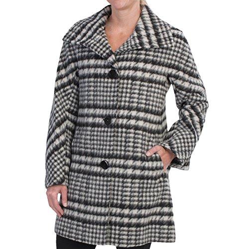 Ellen Tracy Wool Plaid A-Line Coat (For Women) Size (Ellen Tracy Black Wool)