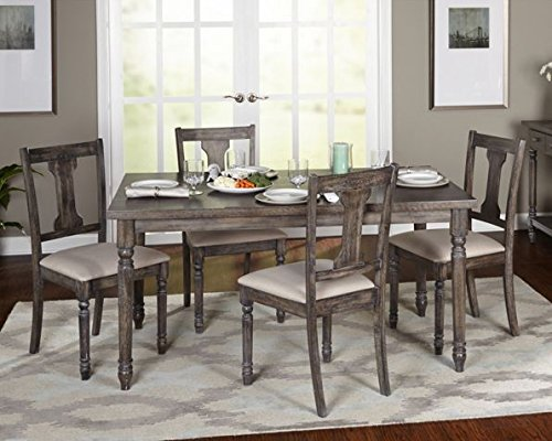 Rustic Rectangular Wood Table with Grey Upholstered Chairs