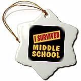 3dRose orn_118085_1 I Survived Middle School Survival Pride and Humor Design Snowflake Porcelain Ornament, 3-Inch