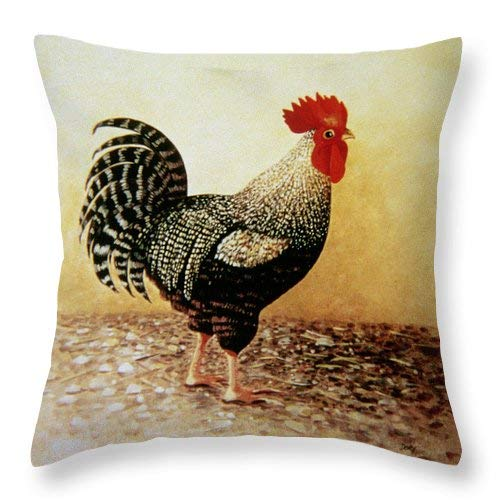 Custom Throw Pillow Cover Cotton Decorative Pillow Case Home Sofa Cushion Cover,Square Design (18x18 inch) (Speckled Rooster)