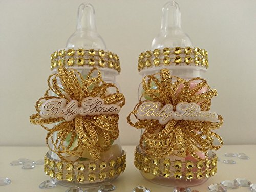 12 Gold Fillable Bottles for Baby Shower Favors Prizes or Games Girl Decorations by baby shower 789 (Image #1)