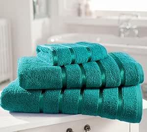 Toalla de algodón egipcio Extra suave PREMIUM 600gsm Kensington banda satinada 4 unidades toalla de mano, diseño de Laura Olivia: Amazon.es: Hogar