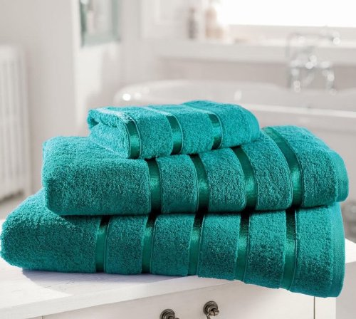 Egyptian Cotton Towel PREMIUM Extra Soft 600gsm Kensington Satin Stripe PACK OF 4 HAND TOWELS, TEAL Bedding Online HH0002314