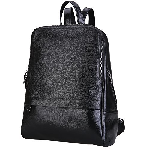 Damero Genuine Leather Casual Backpack, Women Purse Schoolbag