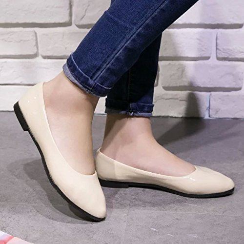 Women Color Shoes Comfort Leather Flat Toe Ballet Loafer Pointy Candy Yellow Dress Faux xqOBWnwrB