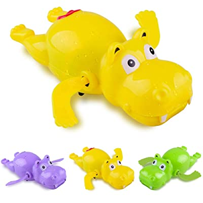 LFOEwpp7 Baby Bath Toys, 1Pc Cartoon Swimming Hippo Animal Clockwork Wind up Fun Bath Water Kids Toy, Girls and Boys Pool Fun Tub Time Random Color: Home & Kitchen
