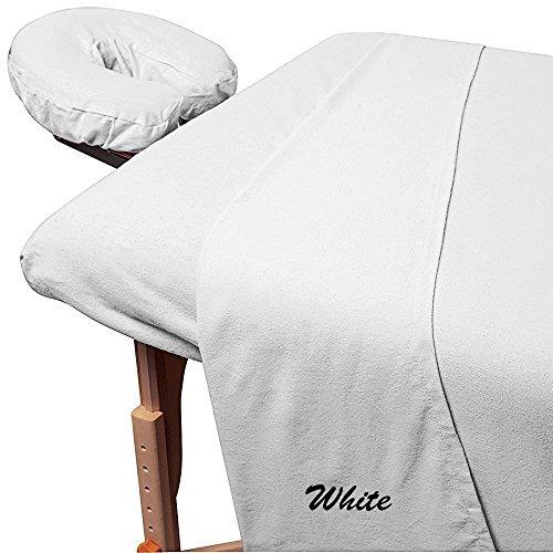 Bleach Cotton Sheet Set - Rinku Linen 300 Thread Count Egyptian Cotton 3-Piece Massage Table Spa Sheet Set White Solid