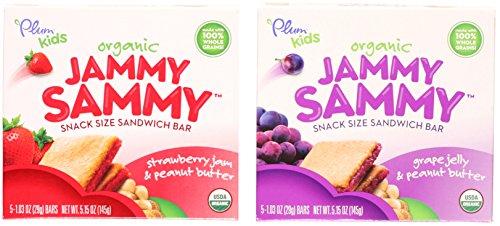Organic Strawberry Butter - Plum Organics Kids Jammy Sammy Sandwich Bar Variety Bundle: (1) Strawberry Jam & Peanut Butter 5.15oz and (1) Grape Jelly & Peanut Butter 5.15oz (2 Pack Total)