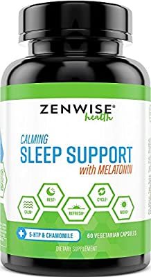 Natural Sleeping Aid - Nighttime Sleep Support Supplement - With 100 MG 5 HTP + Magnesium to Fall Asleep Fast - Chamomile & Melatonin for a Calm & Restful Night - Non Habit Forming