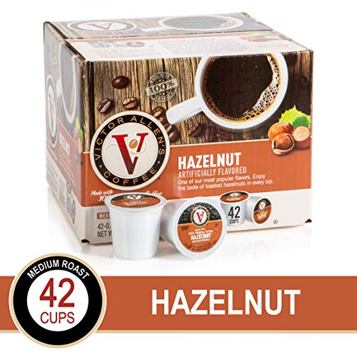 Hazelnut for K-Cup Keurig 2.0 Brewers, 42 Count, Victor Allen's Coffee Medium Roast Single Serve Coffee Pods