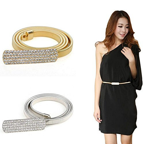Women Rhinestone Metal Belts