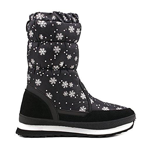 Neve H20612 Mezza Shenji Invernali Stivali Nero da Gamba Donna Scarpe A Antisdrucciolo qwHvx1Xw