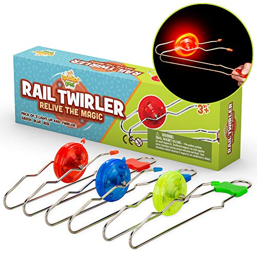 Retro Magic Rail Twirler - 3 Pack - Light Up Magnetic Stocking Stuffers For Kids - Sensory Toy With Spinning Wheel and Flashing LEDs   Rail Twister Vintage Fidget Toy for Adults & Children   3 Colors