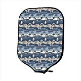 Neoprene Pickleball Paddle Racket Cover Case,Fish,Asian Inspired Geometric Aquarium Animal Geometric Pattern Cartoon