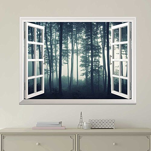 White Window Looking Out Into a Dark Foggy Forest Wall Mural
