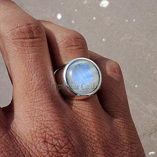 Natural Blue Fire Moonstone Ring, Solid 925 Silver Ring, Genuine Gemstone Jewelry, Round Cab Gemstone Ring, Handmade Ring, June birthstone Ring, Wide Band Metaphysical Healing Ring, Mens Gemstone Ring