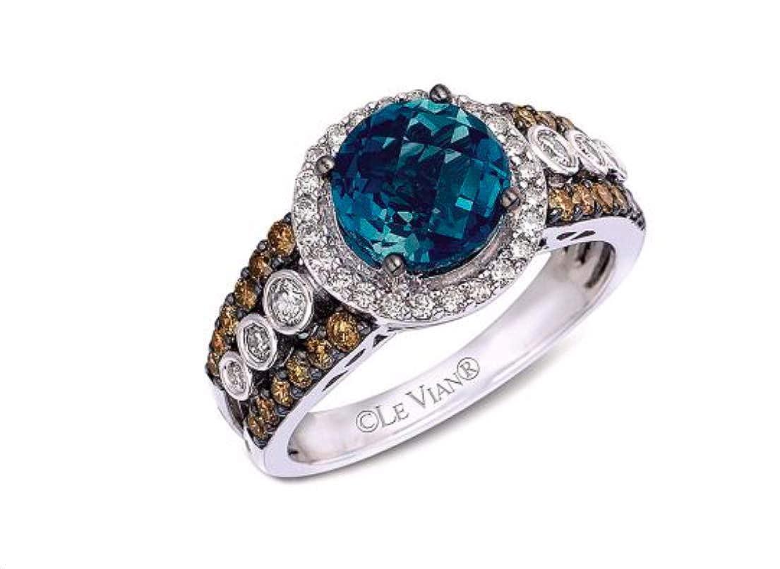 729b88b6d07418 Amazon.com: LeVian Deep Sea Blue Topaz Chocolate and Vanilla Diamonds Ring  2.67 cttw 14K White Gold New (7): Jewelry
