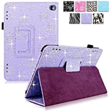 "Cellularvilla Case for Amazon Kindle Fire HD 7"" inch 2014 4th Generation Pu Leather Flip Folio Stand Case Cover (Purple Glitter)"