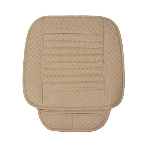 Car Seat Cushion No Brackrest, Breathable Bamboo Charcoal Car Covers Handmade Seat Protector All Seasons (Off White)