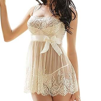 Ausexy Women Lingerie Babydoll Bowknot Sleepwear Sexy Underwear Lace Dress + G-string Set Nightwear (S, White)