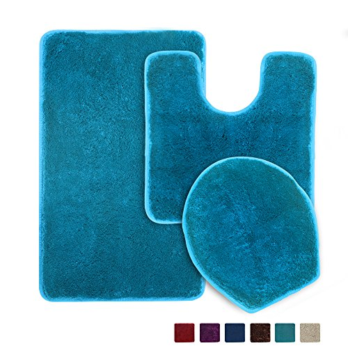 3 Piece Bathroom Rug Set, Seavish Non Slip Microfiber Shaggy