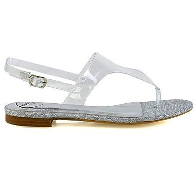 0bad6fde1f1 ESSEX GLAM Womens Flat Clear Silver Perspex Slingback Summer Beach Sandals  5 B(M)