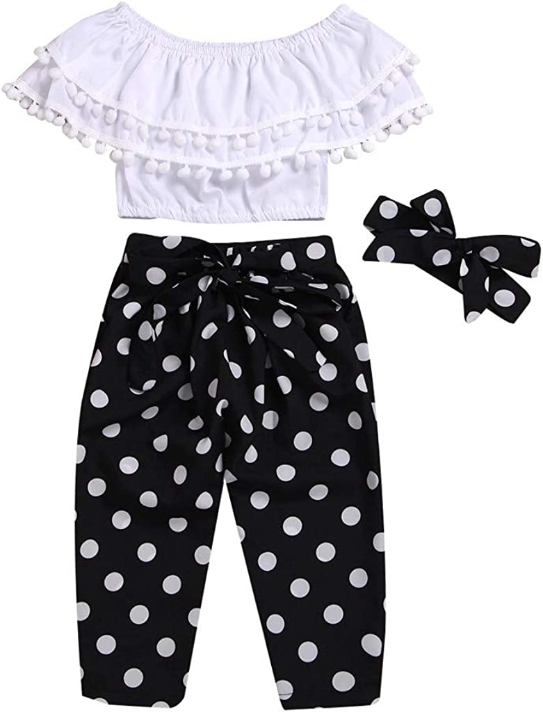Summer Girls Baby Kids Polka Dot Shirt Tops /& Pink Pants Shorts Outfit 1-6Years