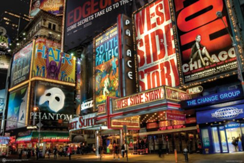 NMR 9510 NYC Times Square Theatre District Decorative Poster 24x36
