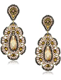 Bronze CZ Rondelle Embroidered Drop Earrings