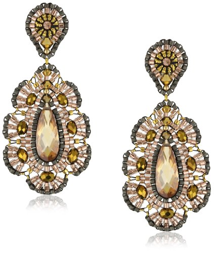 Miguel Ases Bronze CZ Rondelle Embroidered Drop Earrings by Miguel Ases