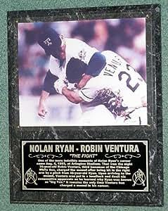"NOLAN RYAN - ROBIN VENTURA ""THE FIGHT"" LARGE PHOTO PLAQUE"