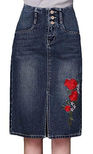 (Youhan Women's High Waist Embroidered Slit A-Line Midi Denim Skirt (X-Large, Dark Blue))