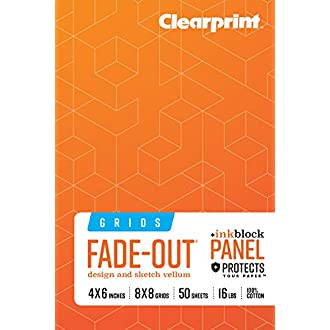 Clearprint 1000H 100% Cotton Design Vellum Field Book, Ink Block Panel and 8x8 Fade-Out Grid, 16 LB, 60 GSM, 4 x 6 Inches, 50 Sheets Per Book(CVB46G2)