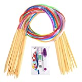 #3: 18 Pairs Bamboo Knitting Needles Set, BetyBedy Circular Wooden Knitting Needles with Colorful Plastic Tube, Small Tools for Weave are Included, 18 Sizes: 2mm - 10mm, 31.5