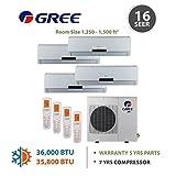 +Multi Zone 36,000 BTU 3.0 Ton Ductless Mini Split Air Conditioner with Heat, Inverter, Remote - 208-230V/60Hz